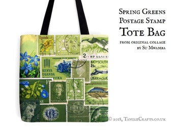 Spring Greens Tote Bag - Postage Stamp Print Shopper with Long Handles