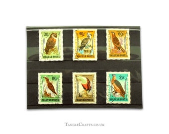 Birds of Prey Vintage Postage Stamps - HUngary Part Set, 1962