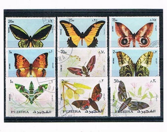 Moths & Butterflies on Stamps | butterfly art illustration postage stamps - thematic topical collection | vintage stamps to craft or upcycle
