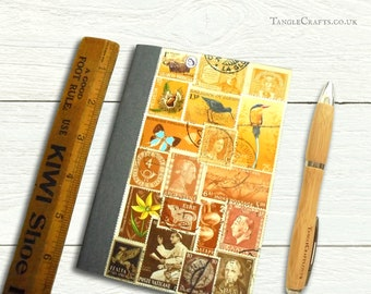 Golden Brown - upcycled postage stamp address book