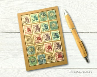 South Africa Safari Journal, recycled A6 notebook decorated with real vintage stamps