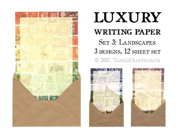 Writing Paper Letter Set   A5 Landscape Art Writing Set Gift for Penpal    World Travel History, Vintage Stamps   Mail Art Letter Writing Set