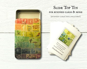 Rainbow business card tin with slide top lid