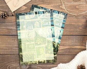 Writing Paper Set, Blue Green Postage Stamp Print Stationery Set | Bohemian Landscape, Boho Penpal Notepaper Letter Set, Correspondence Set