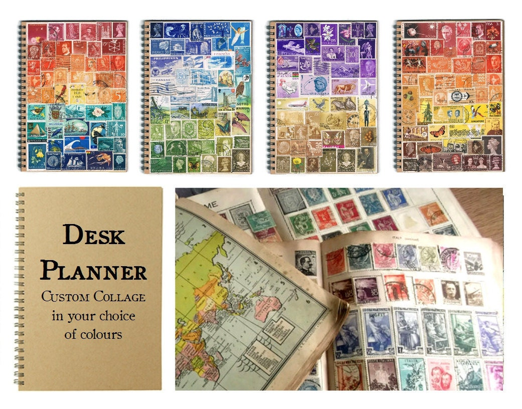 a5 travel or student planner custom stamp art collage cover