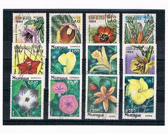 Exotic Flower Postage Stamps | tropical & woodland flowers, vintage 1980s postal stamp selection | collage, decoupage, topical philately