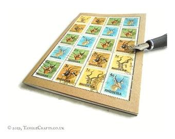 Rhodesia Travel Journal - Antelope 1974 Vintage Postage Stamps
