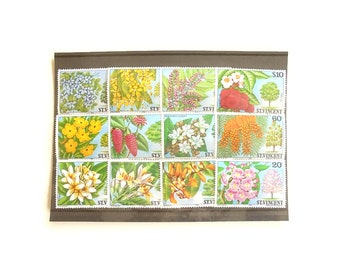 Flowering trees, St Vincent 1984 part set unused postal stamps   nature foliage blossoms thematic postage stamp collection   papercraft etc
