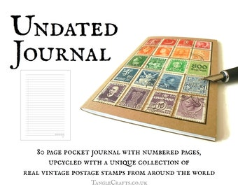 World Rainbow Pocket Size Journal, made with real vintage stamps