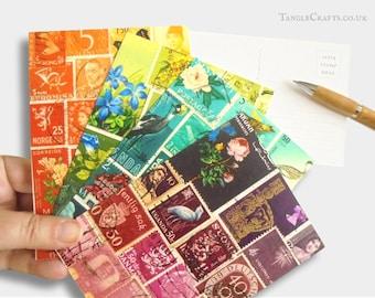 Tonal Postcard Set - Mixed Postage Stamp Designs