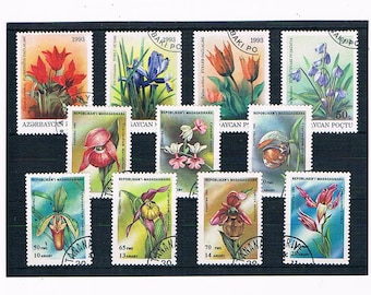 Flowers on Stamps, floral postage stamps | orchids, iris, tulip etc - nature theme used stamp stock card | collage upcycle collect decoupage