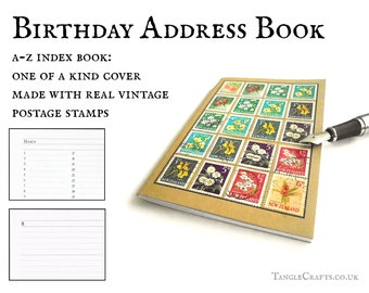 Floral address book or garden planting diary, New Zealand flower stamps