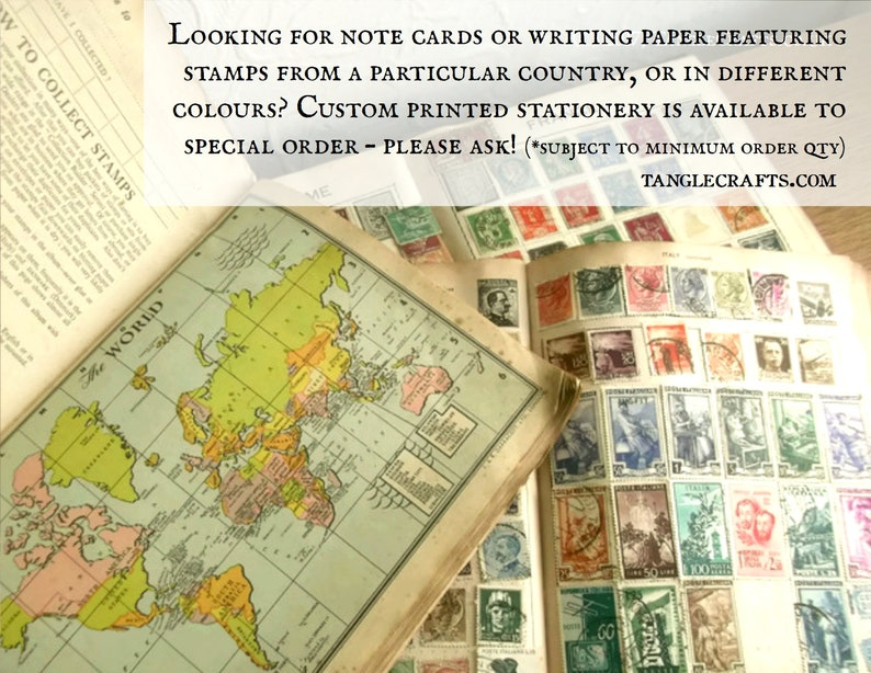 Postal Mail Art Card Single NoteCard or Set Fiery Sunset Blank Note Card Bon Voyage Card for Traveller Red Orange Postage Stamp Print