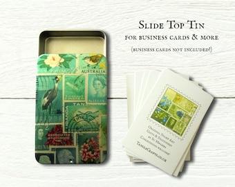 Ocean Deep - slide top tin business card box