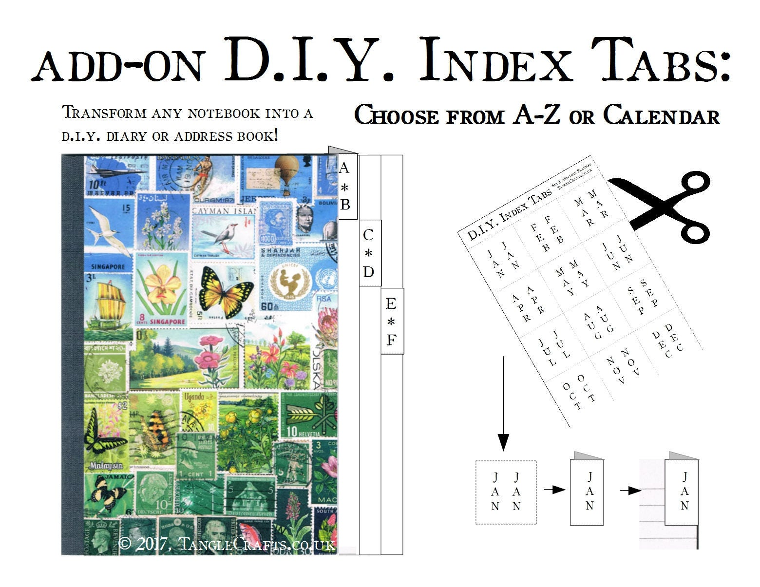 diy a z tabs printed sticker sheet make your own address book