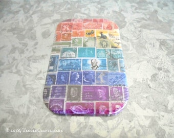 Rainbow Fridge Magnet   Postage Stamp Print Office Gift or Stocking Filler