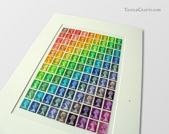Stamp Art Rainbow - Unframed with Mount, Ready to Frame