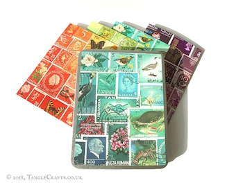 Tonal Notecard Set in Gift Tin - Mixed Set of Colourful Stamp Art Note Cards