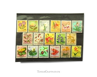 Flower definitives from Belgian Congo, 1950s used & mint postage stamp part set