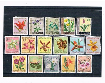 Flower Definitives Postage Stamp mix | colourful vintage 1950s 1960s floral postal stamp selection - daffodil protea etc thematic collection