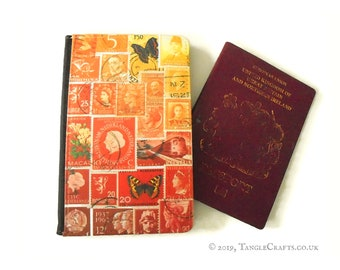 Orange Butterfly Passport Protector   Sunset Orange Red Ombre Postage Stamp Print   fire flame collage faux leather passport cover & tin box