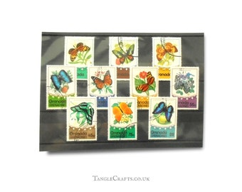 Vintage butterfly postage stamp selection - Grenada & the Grenadines, 1975