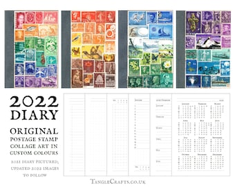 2022 Diary Notebook, unique custom postage stamp art cover