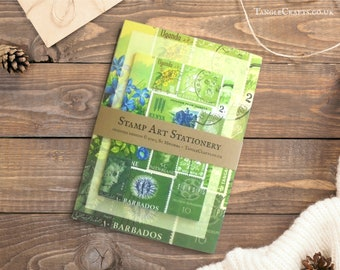 Green Stationery Set - Boxed Writing Paper, Note Cards & Labels | penpal care package | boho postage stamp art laid paper letter writing set