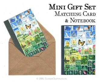 Summer Journal & Note Card Gift Set | Blue Green Landscape Bon Voyage Gift | Postage Stamp Print Stationery Set | A6 Notebook + NoteCard