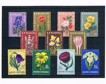 Retro 1950s & 1970s Flowers on VIntage Postage Stamps | wildflowers - poppy, thistle, camomile, dogrose | collage upcycle collect decoupage