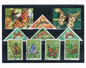 Butterfly Stamp Selection Mix | vintage butterflies, triangle stamps | 1960s 1980s used postal stamps for card craft collage collection etc