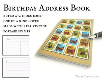 Retro butterfly address book, upcycled New Zealand stamps, 1970