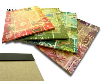 Magnetic Memo Pads - Rainbow Mix Set of 4, postage stamp print notepads