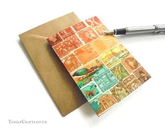 Sunset Heron Stamp Art Card, Single or Set - Postage Stamp Notecard, blank inside