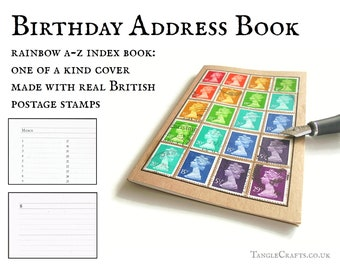 Rainbow Address Book + Notebook, Upcycled British Postage Stamps