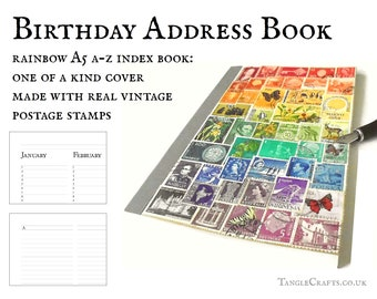 Rainbow address book & birthday book • eco friendly recycled A-Z index book • one of a kind upcycled postage stamp art, letter writer gift