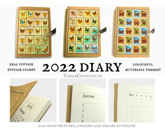 2022 Butterfly Diary, Real Postage Stamp Cover | Recycled Agenda A6, Ecofriendly Month Planner, Upcycled Stamps | Nature Lover New Year Gift