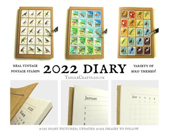 2022 Birds Diary, Recycled Postage Stamps | Bird lover stocking filler, New Year Gift for Twitcher, birdwatcher | A6 Month to View Planner