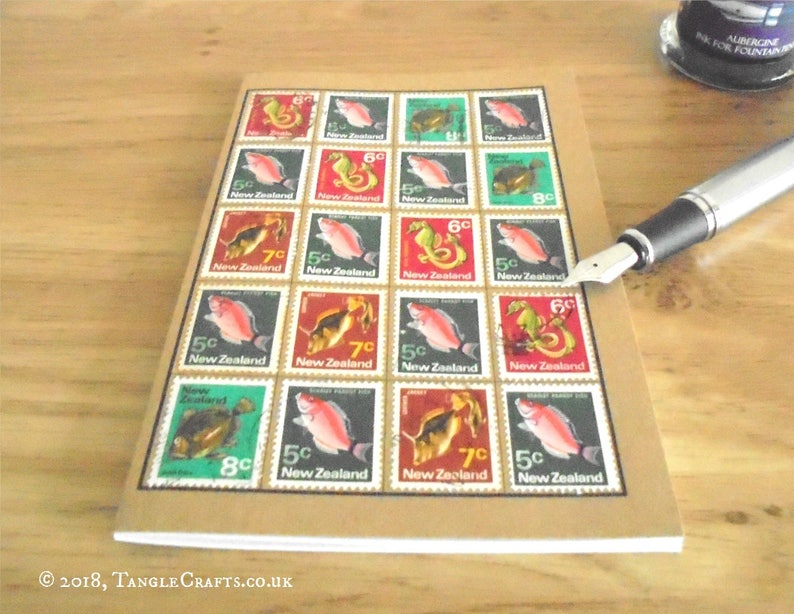 Retro Fish Notebook, New Zealand Travel Journal | Colorful Upcycled 1970 NZ  Postage Stamps | Secret Santa Fishing Gift, Stamp Collector Gift