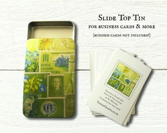 Green business card tin with slide top lid