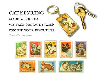 Vintage Cat Keyring - choice of designs - real Romania stamp 1965