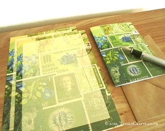 Spring Greens Writing Gift Set - Paper, cards, fountain pen with box