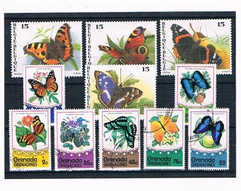 Butterfly Stamps Collection | vintage butterflies, belgium & grenada postal stamp selection | stamps for papercraft, collage, philately etc