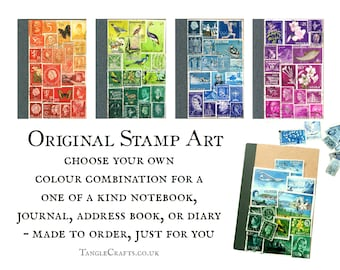 Upcycled notebook journal, original postage stamp art • custom colour & page layout choice • recycled A6 notebook with vintage postal stamps