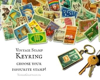 Vintage Postage Stamp Keyring - choose your favourite