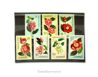 Oversized Camellia Flower Postage Stamps - Complete set Albania, 1972