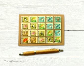Sea Fish Notebook - upcycled with 1960s Tanzania postage stamps