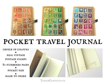 Upcycled Travel Journal, Real Vintage Postage Stamps • Undated diary notebook in custom colours • ooak nostalgic world stamp collector gift