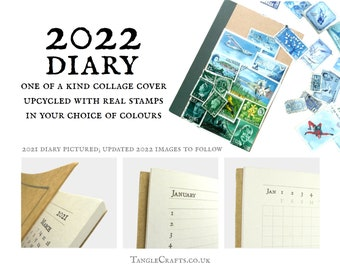 2022 Pocket Diary, eco friendly A6 agenda book, month to view | quirky recycled art, upcycled postage stamps | shabby chic stationery gift