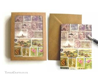 Heather Hills Stamp Art Notecard Set, 4 or 8 - Postage Stamp Landscape Note Cards
